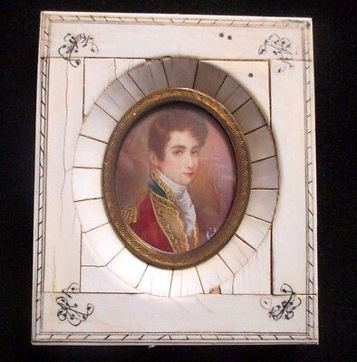 Antique French Miniature Portrait Painting With Engraved Frame Signed