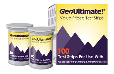 GenUltimate Test Strips 100ct for OneTouch Ultra Ultra2 Meters Exp 112019 -2020