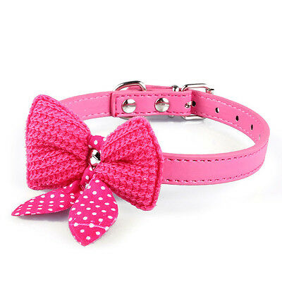 Knit Bowknot PU Leather Dog Puppy Pet Cat Collars Cute for Small Dogs Necklace