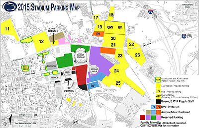 Penn State PSU Nittany Lions vs- Indiana Football Preferred Brown Parking Pass