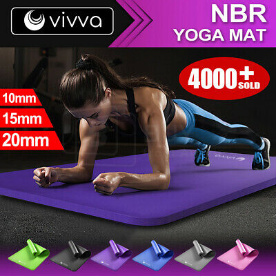 101520MM NBR Thick Yoga Mat Pad Nonslip Exercise Fitness Pilate Gym