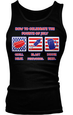How to Celebrate the Fourth of July - Grill Fireworks Drink  Boy Beater Tank Top