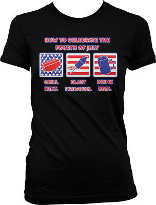 How to Celebrate the Fourth of July - Grill Fireworks Drink  Juniors T-shirt