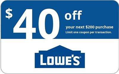 ONE 1x Lowes 40 OFF 200 Lowes-Coupons- IN-STORE-ONLINE-Delivery in 1-min