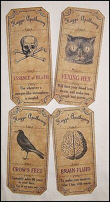 SET of 12 VINTAGE LOOK APOTHECARY Potion Ingredient LABELS HalloweenPrimitive
