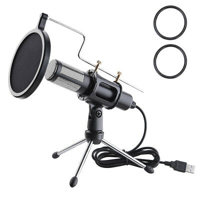 Condenser USB Microphone w Tripod Stand for Game Chat Studio Recording Computer