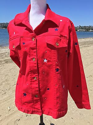 FOURTH OF JULY RED JACKET WITH BLUE - WHITE STARS SIZE L