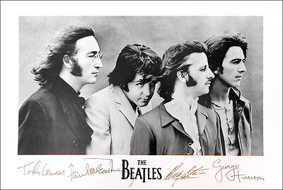 BEATLES John Paul George Ringo Famous Signatures Poster