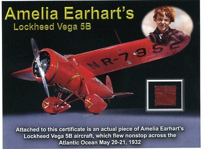Amelia Earhart - Original Red Fabric From Her Vega 5B Airplane on Full Color COA