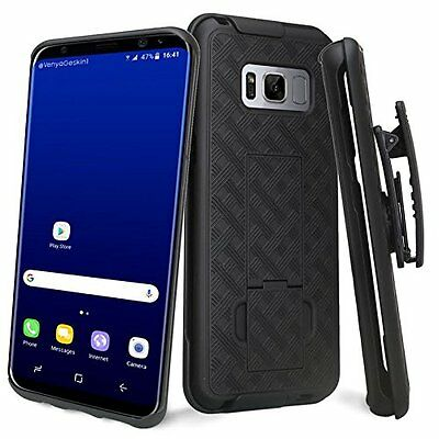 Black Shell Hard Case Cover - Belt Clip Holster Kickstand for Samsung Galaxy S8