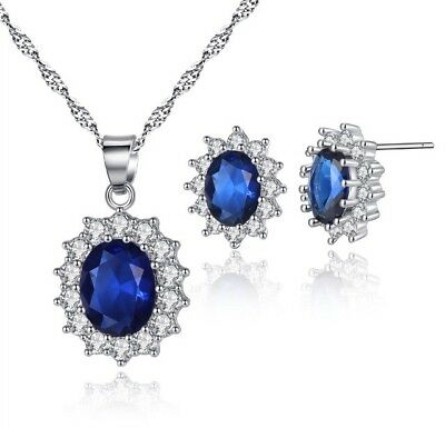 US Seller- Kate Middleton Created Sapphire - CZ earrings And Necklace Set