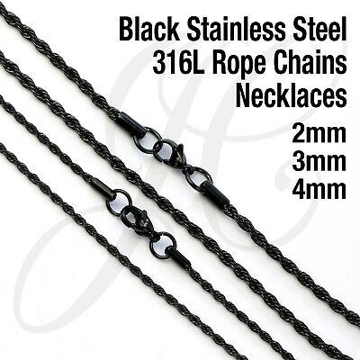 Black 2mm 3mm Stainless Steel 316L Rope Chain Necklace Men Women 16in - 26in
