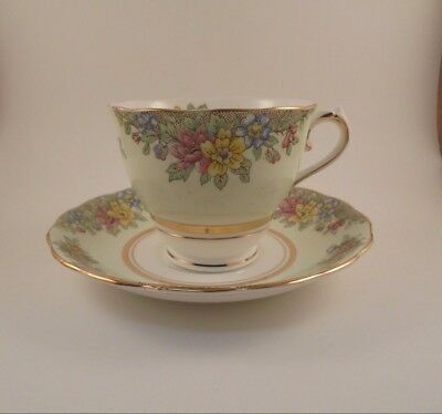 Colclough Footed Cup - Saucer Pale Green Rim WMulticolor Flowers Bone China
