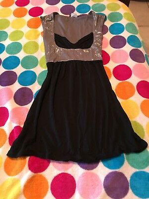 Wet seal Shiny Black Tunic Top Tie Back Sexy Size Small