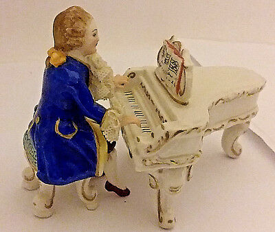 Vintage Dresden Lace Figurine Man Playing Piano 2 Pieces Porcelain Holland