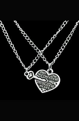 KEY TO MY HEART 2 PC LOVERS NECKLACES MOTHERS DAY
