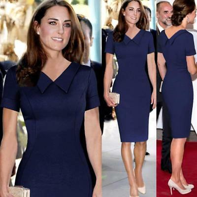 Classical Kate Middleton Short Sleeve sheath Bodycon Work Office Women Dress