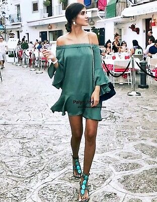 NWT ZARA AW17 OFF-THE SHOULDER FLOWING DRESS WITH RUFFLED SLEEVES-XS M L