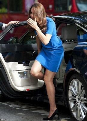 New Celebrity Princess Kate Middleton Blue Cut Brief Work Office Women Dress