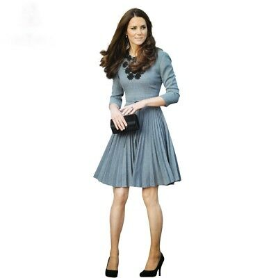 Kate Middleton Same Princess Style O Neck Three Quarter Sleeve Women Dress