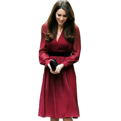 2018 Spring Princess Kate Middleton V Neck Long Sleeve Women Sexy Red Dress