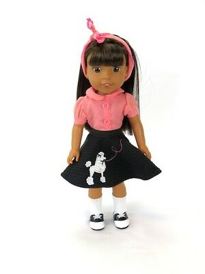 Pink and Black 50s Poodle Skirt Outfit Fits Wellie Wishers 14-5 American Girl