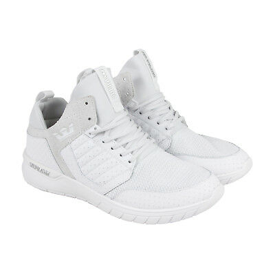 Supra Method Mens White Textile - Leather Athletic Lace Up Running Shoes