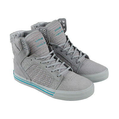 Supra Skytop Mens Gray Leather High Top Lace Up Sneakers Shoes