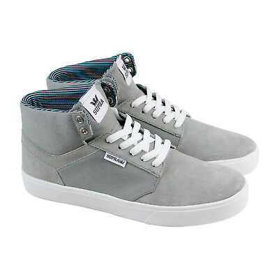 Supra Yorek High Mens Gray Suede - Canvas High Top Lace Up Sneakers Shoes
