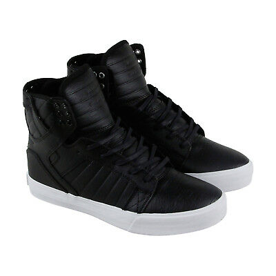 Supra Skytop Mens Black Leather - Suede High Top Lace Up Sneakers Shoes