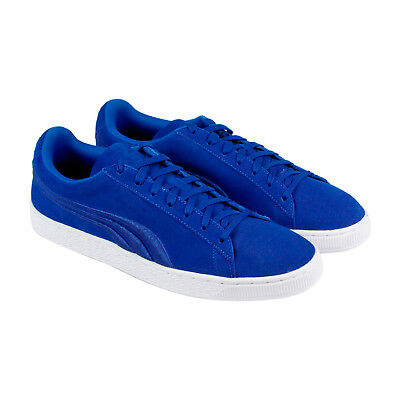 Puma Classic Badge Mens Blue Suede Lace Up Sneakers Shoes