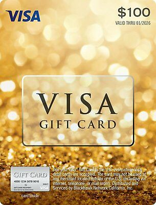 100 Gift Card- USE ANYWHERE- Activated No fees Free Fast 2-Day Delivery-