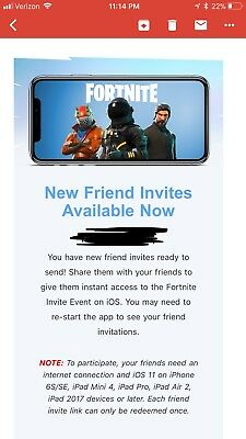Fortnite Battle Royale Mobile iOS Friend Invite INSTANT DELIVERY
