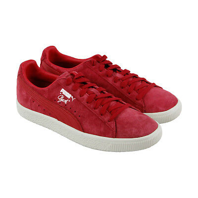 Puma Clyde Normcore Mens Red Suede Lace Up Sneakers Shoes