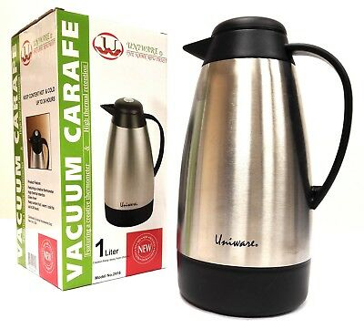 CoffeeTea Carafe Vacuum Thermos Stainless Steel with Temperature Gauge1 Liter
