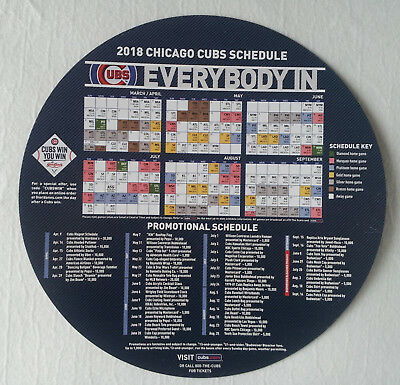 Chicago Cubs 2018 Magnet Schedule Giordanos Sponsored New Condition
