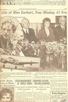 AMELIA EARHART 1937 original  MISSING at SEA  SEARCH EFFORTS PHOTOS  her life