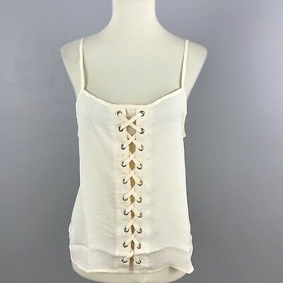 Forever 21 F21 Womens Lace Up Cream Top Camisole Sleeveless Sheer M Medium