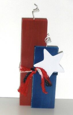 Fourth of July Patriotic Wood Crafted Firecracker  Standing Decoration