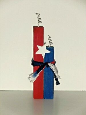 Fourth of July Patriotic Wood Crafted Firecracker   Standing Decoration 10 in