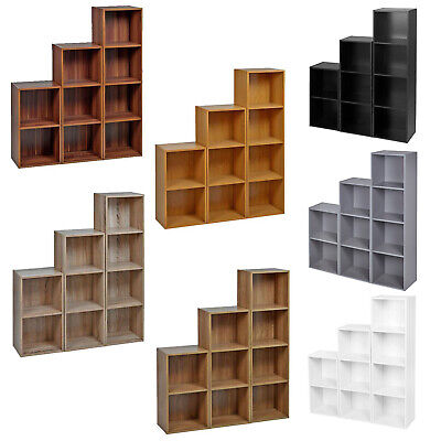 Cube, 2, 3 or 4 Tier Wooden Bookcase Shelving Display Storage Shelf Unit Wood