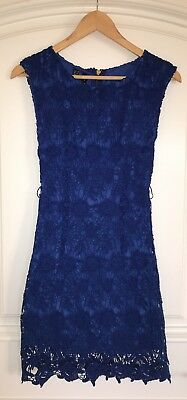 MANGO Women's Kate Middleton Short Sleeve Embroidered Blue Dress Gold Belt XS