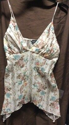 WOMANS WET SEAL SPAGHETTI STRAP BLOUSE SIZE SMALL FLORAL