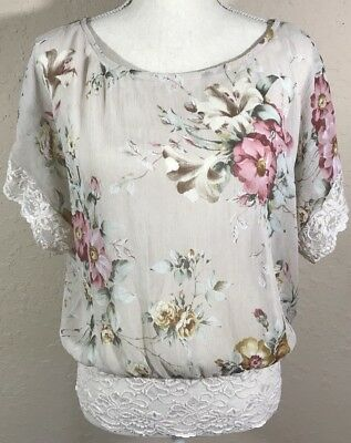 Wet Seal Top Semisheer Floral Lace Trim Size L