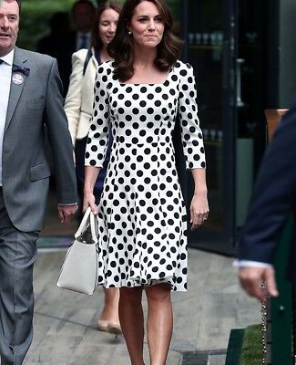 ASO Duchess of Cambridge Black - White Polka Dot Dress Kate Middleton Replikate
