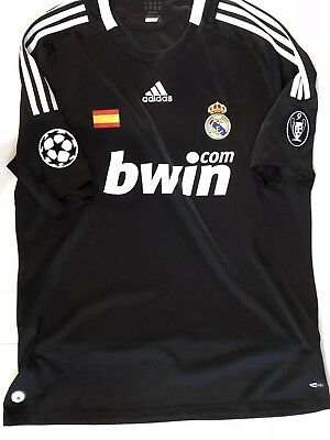 Real Madrid 2008 Champions League Third Black Mens Soccer Jersey size XL