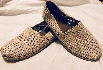 Toms Womens 8-5 Woven Canvas Tan Cream Slip Ons Flats Shoes A15