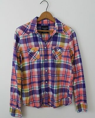 AEO American Eagle Outfitters Pink Flannel Shirt Pearl Snap Buttons Medium