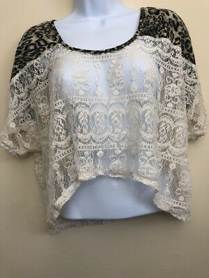 Wet Seal Womens Size Large Leopard Lace Shirt Top Blouse Crop
