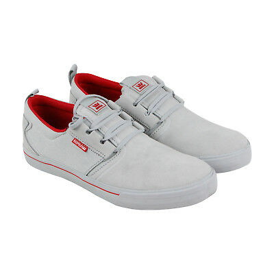 Supra Flow Mens Gray Suede Sneakers Lace Up Skate Shoes